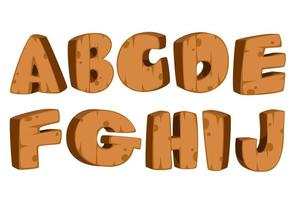 vetgedrukt lettertype met houten textuur, deel 1 vector