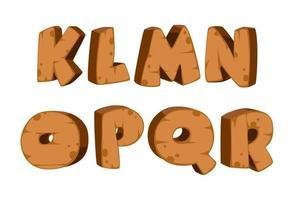 vetgedrukt lettertype met houten textuur, deel 2 vector