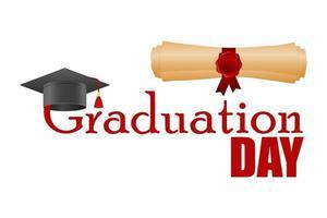 diploma en afstuderen hoed geïsoleerd vector