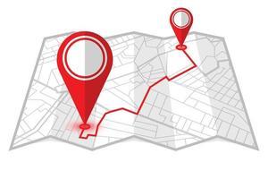 locatiepennen in een opvouwbare kaart vector