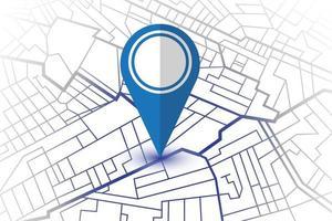 blauwe pin in het tonen van de locatie op de witte kaart vector