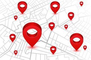 navigatiekaart met rode locatiepennen vector