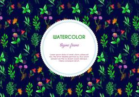 Donkere Waterverf Thyme Bloemen Vector