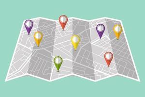 vastzetten in het tonen van de locatie op de navigatiekaart vector