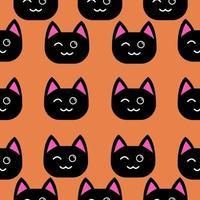 zwarte kat knipogen naadloos patroon