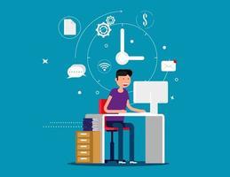 ontwerper man aan het werk met creatieve proces iconen vector