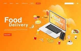 koop eten online op de bestemmingspagina van de laptop