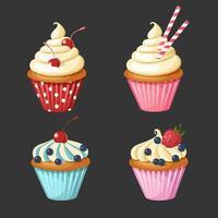 set van zoete cupcakes vector