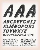 vintage grunge en tattoo getextureerde komische abc-lettertype vector