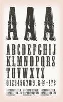 westerse vintage grunge en tattoo abc-lettertypen vector