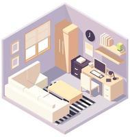 isometrische paarse werkkamer