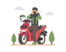 man op een scooter met een gezichtsmasker
