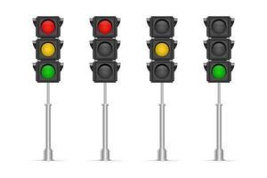 vier verkeerslichten geïsoleerd