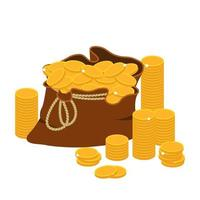 geldzak met gouden munten vector