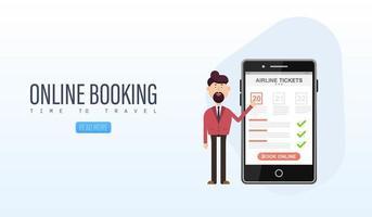 boek uw vlucht online op een mobiele telefoon