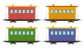 set van treinwagons geïsoleerd