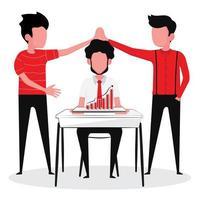 zakenlieden brainstormen over een idee met goed teamwerk vector