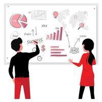 zakenman en vrouw die op grafiek werken