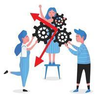 mensen die elkaar helpen versnellingen vast te houden om succes te behalen