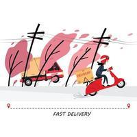 snelle levering van vrachtwagens en scooters vector