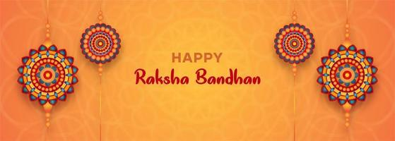 raksha bandhan oranje banner met 4 kleurrijke mandala's vector