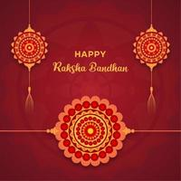 raksha bandhan-ontwerp met hangende mandala's en armbandmandala vector