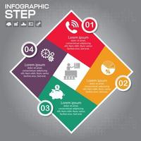 kleurrijke 4 stap diamant infographic met pictogrammen