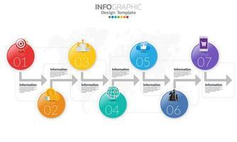 infographic met pijlen en 7 glanzende kleurencirkelopties vector