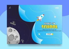 ruimte thema terug naar school poster of bestemmingspagina vector