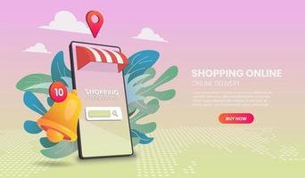 online mobiele winkel en bezorgingswebsjabloon vector