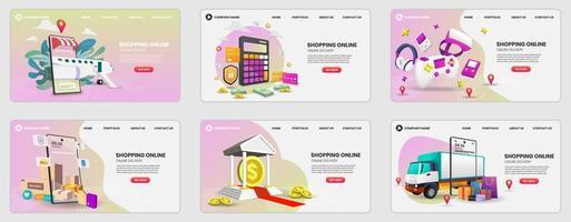 set ontwerpsjablonen voor webpagina's voor online winkelen