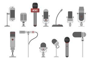 set van verschillende microfoons vector