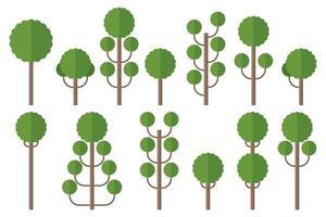 set van groene platte bomen