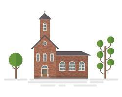 kerkgebouw en bomen vector
