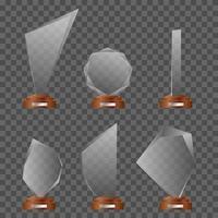 set glazen trofeeën vector