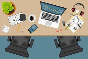 bedrijfsplanning en audit bovenaanzicht met kantoorobjecten