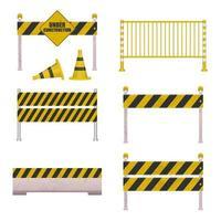 straat in aanbouw barrières vector