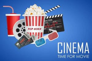 bioscooptijd voor filmposter vector