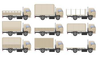 witte vrachtwagen set vector