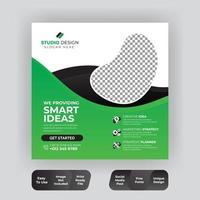 vierkante groene verkoop en kortingspromotie op sociale media
