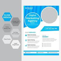 blauw en wit of corporate flyer met cirkels