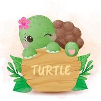 schattige groene schildpad lachend met bloem in haar hoofd