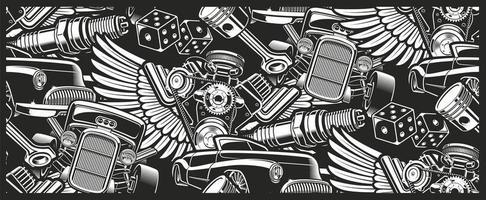 naadloze vintage auto patroon vector