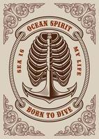 nautische vintage poster met anker en ribben vector