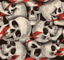 halftone schedel en rood bliksem naadloos patroon vector