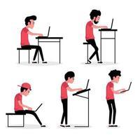 mensen in verschillende poses die computers gebruiken