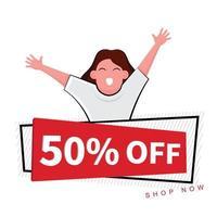 gelukkige vrouw achter 50 procent korting op banner vector