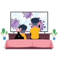 twee kinderen kijken naar nieuws over covid-19 op tv vector