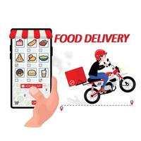 persoon die eten online bestelt via smartphone