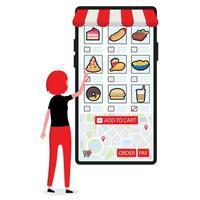 persoon die eten online bestelt via een groot touchscreen